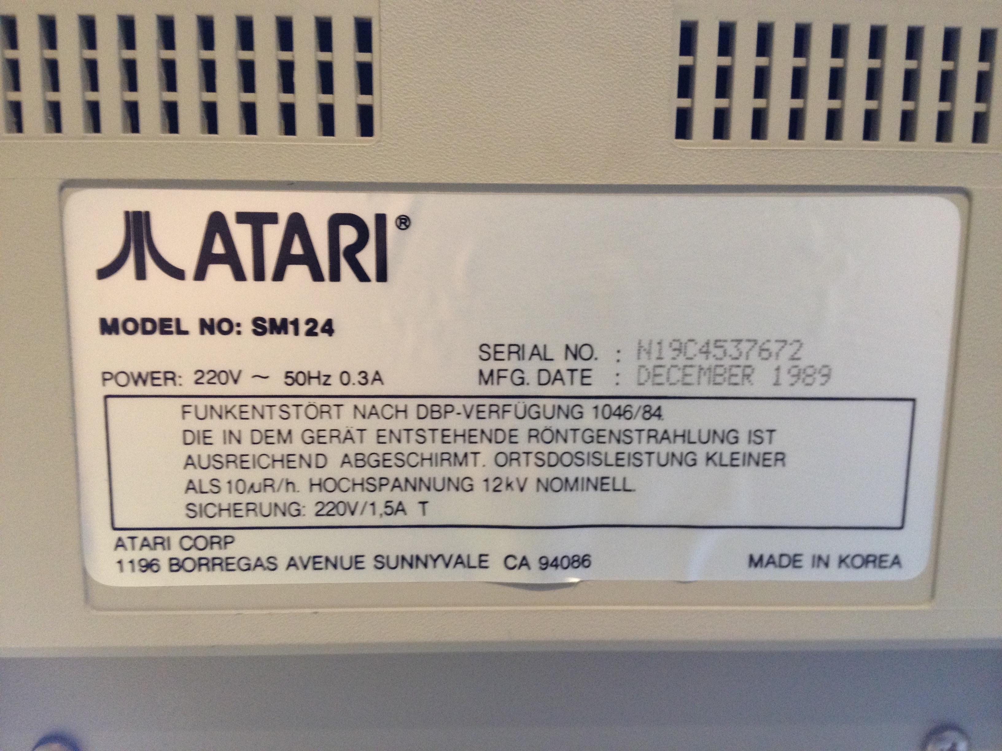 Atari SM124 Label